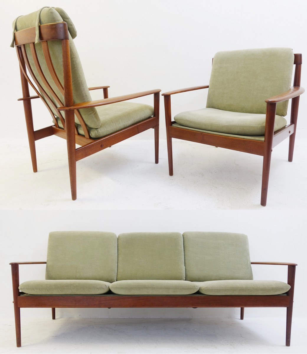 Danish set of armchairs and sofa PJ56 by grete jalk for Poul ...