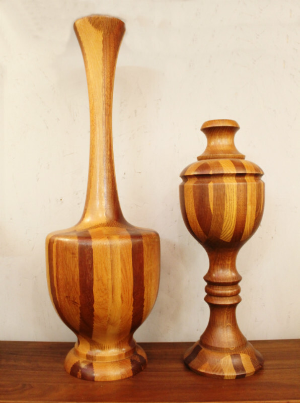 Decorative vases in wood att. to De Coen  - C. 1960