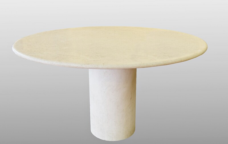 Dining Pedestal table in travertine, circa 1970
