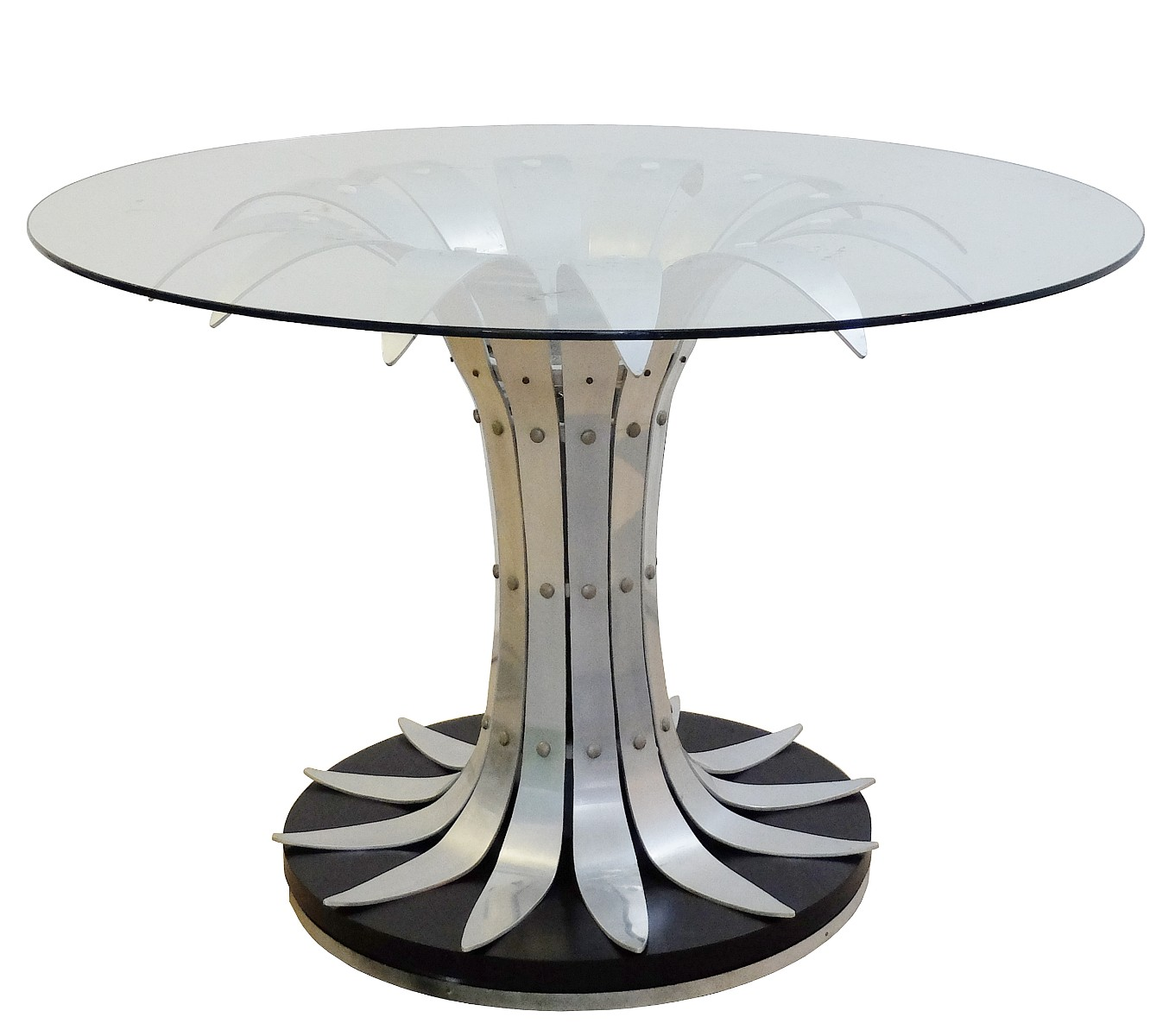 Dining Table With Flower Shaped Brushed Chrome Glass Top Dining Room Items By Category European Antiques Decorative
