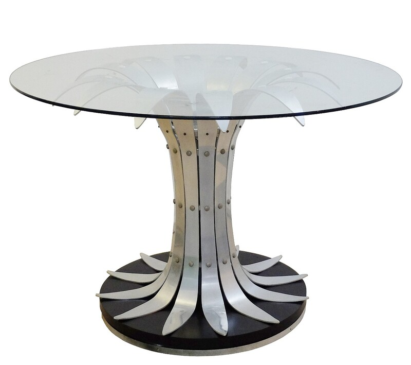 dining table with flower shaped brushed chrome - glass top