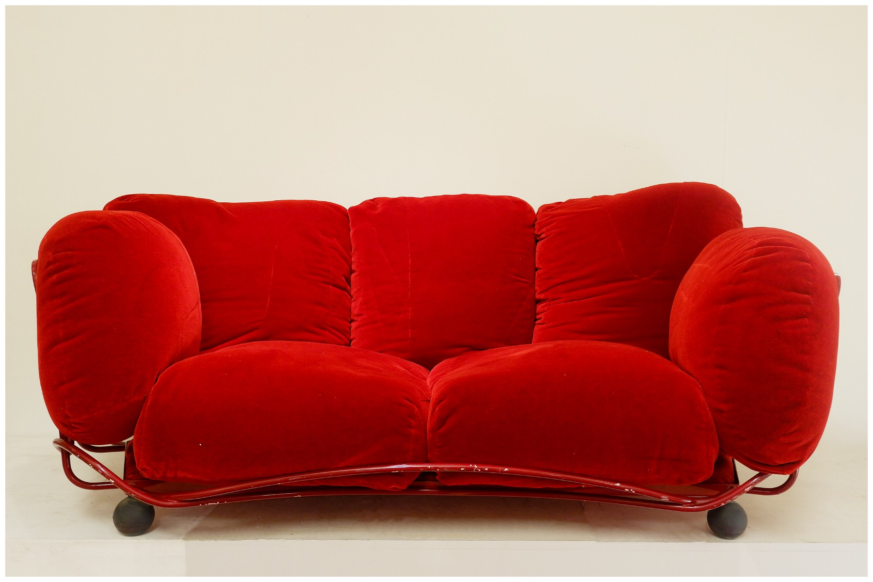 Edra red velvet sofa - Sofa - Seating - Via Antica