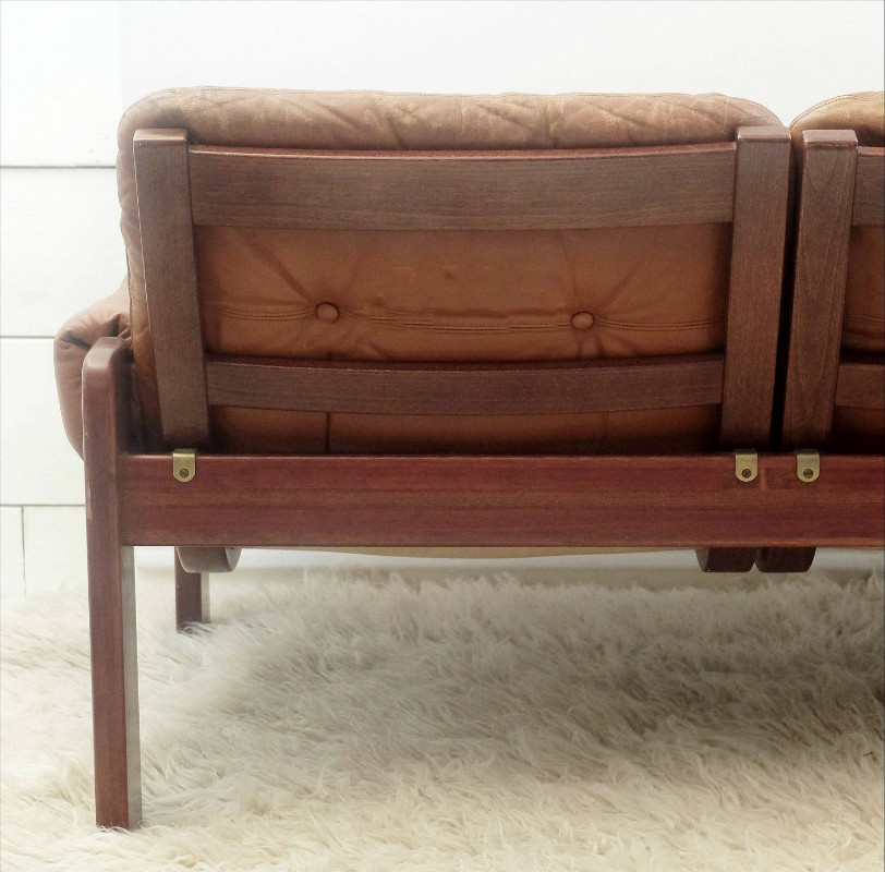 28 leather and wood sofa