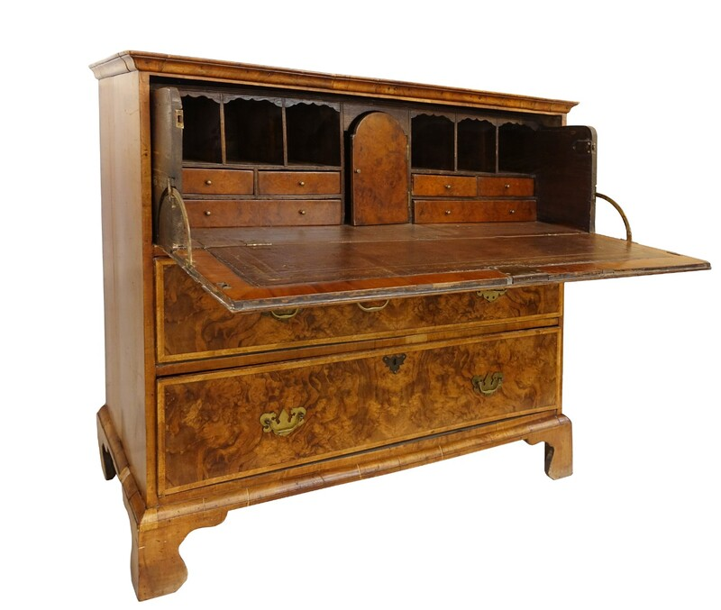 English George III burr Walnut Secretary Desk - late 18th