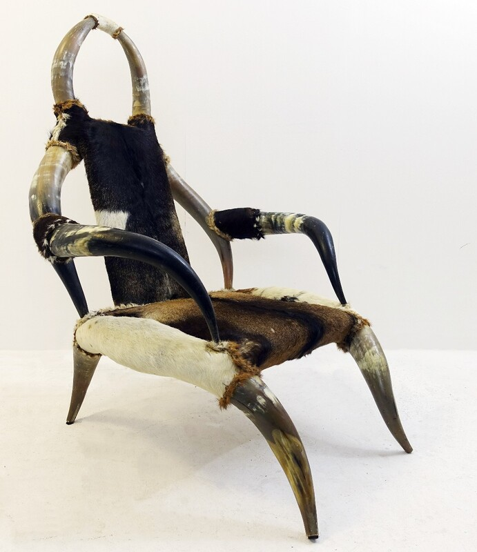 Ethnic buffalo horns armchair