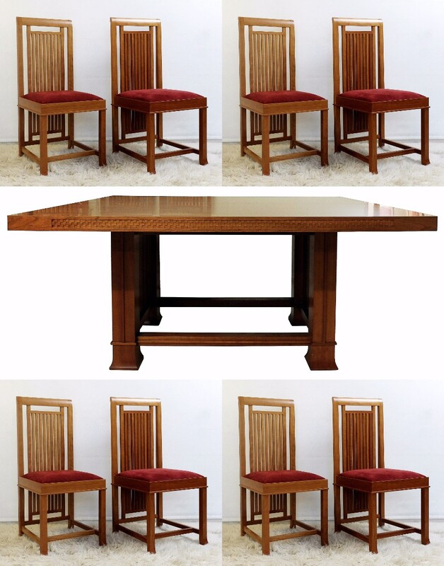 F.L Wright Robie House Dining Table & 8 Chairs-Manufactured by Cassina, 1992