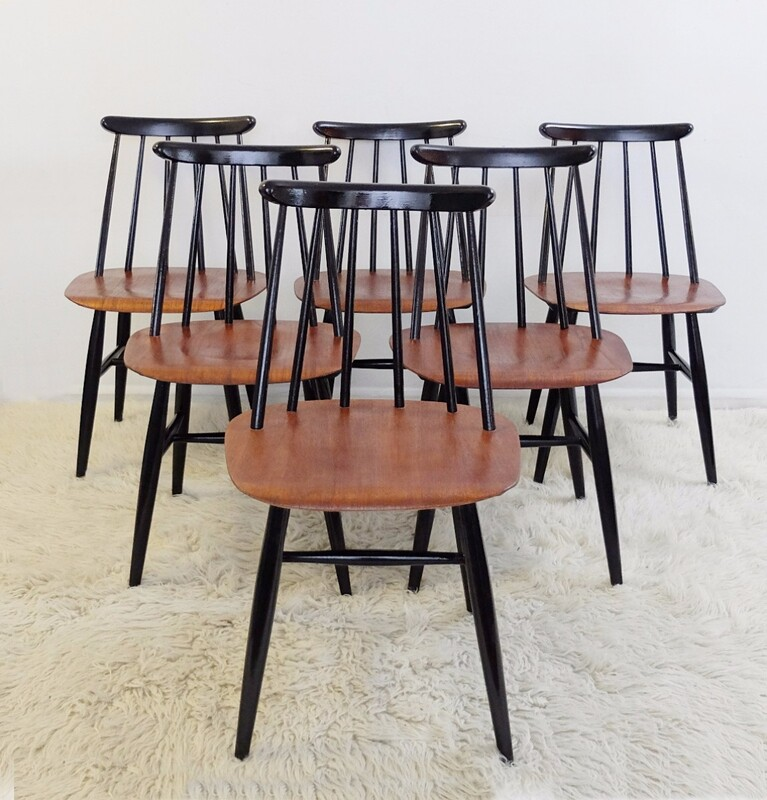 Fanett Teak Chairs by Ilmari Tapiovaara, 1960s, Set of 6
