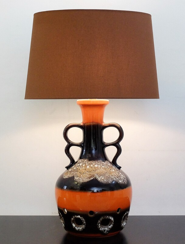 Fat Lava orange and brown ceramic table lamp