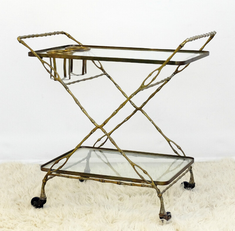 Faux bamboo brass drinks trolley
