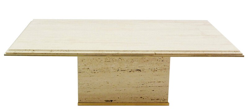 Fedam travertine coffee table with brass finish