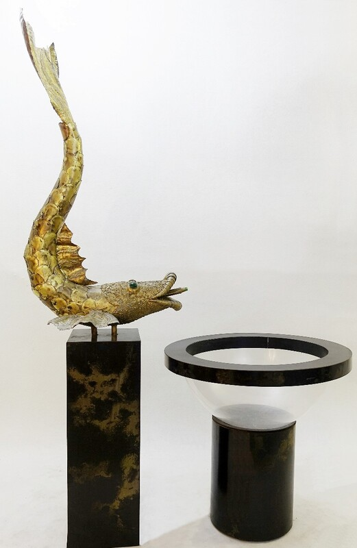 Fish Fountain in Brass and Lucite, France, 1960s