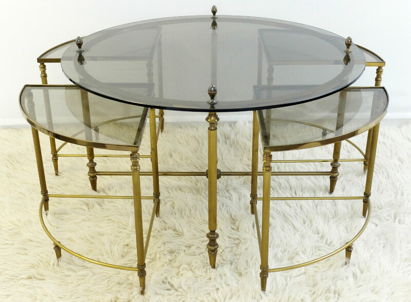 Five-Piece Hollywood Regency Cocktail Table Set by Maison Jansen