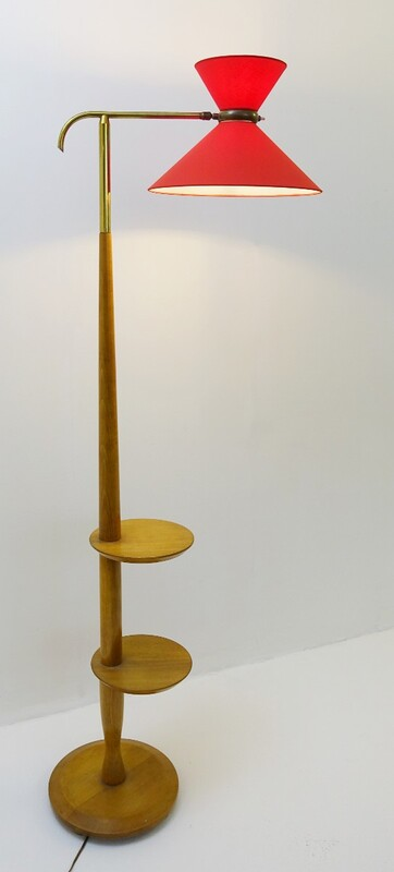 Floor lamp in wood with new diabolo lampshade