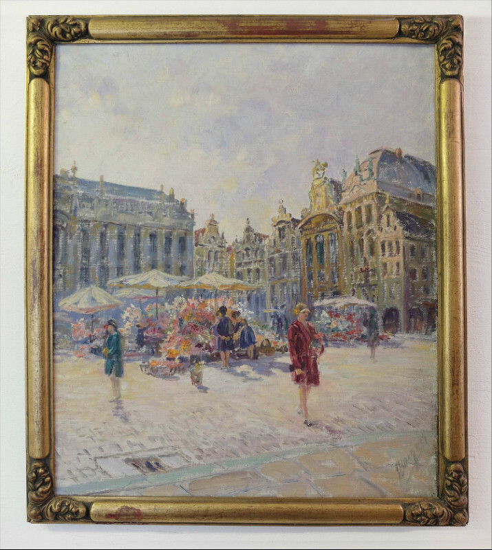 Flower market in Grand Place, Brussels - oil on canvas