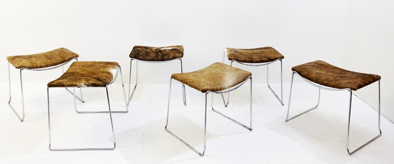 Foal Stools in Chrome 1960's, New Upholstery - 6 available