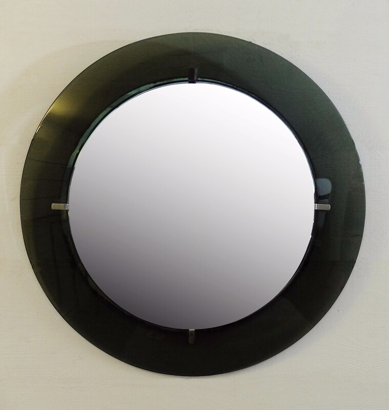 Fontana Arte, Wall Mirror Colored Glass, circa 1950, Italy