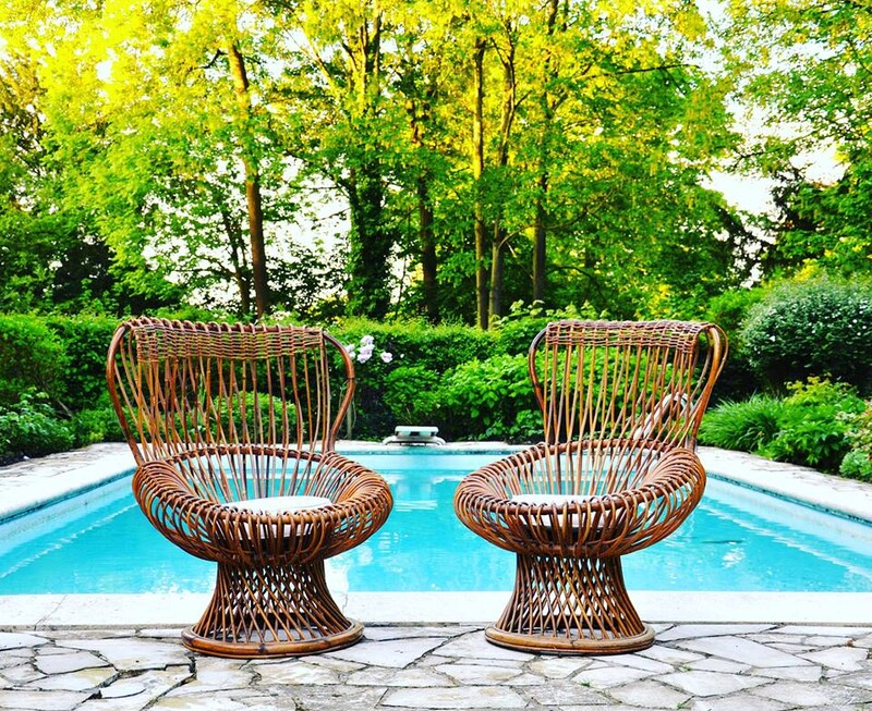 Franco Albini Margherita - Pair of rattan armchairs