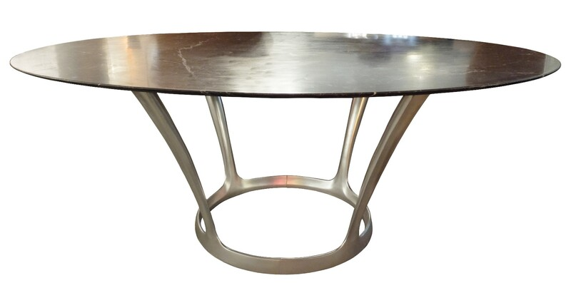 French 1970s Marble Top Table by Michel Charron