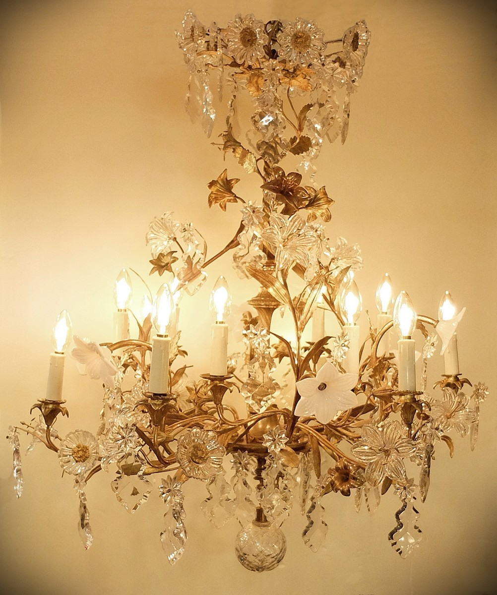 French rococo style late 19th century crystal and bronze chandelier french rococo style late 19th century crystal and bronze chandelier ceiling light lighting via antica mozeypictures Gallery