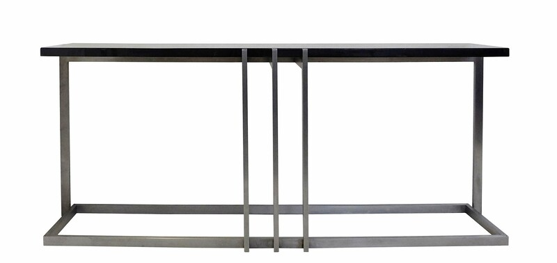 French Steel and Black Lacquer top console table by Paul Le Geard
