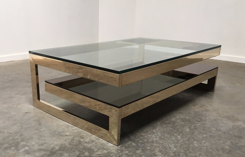 'G' Gold Coffee Table with Smoke Glass Tiered Shelf