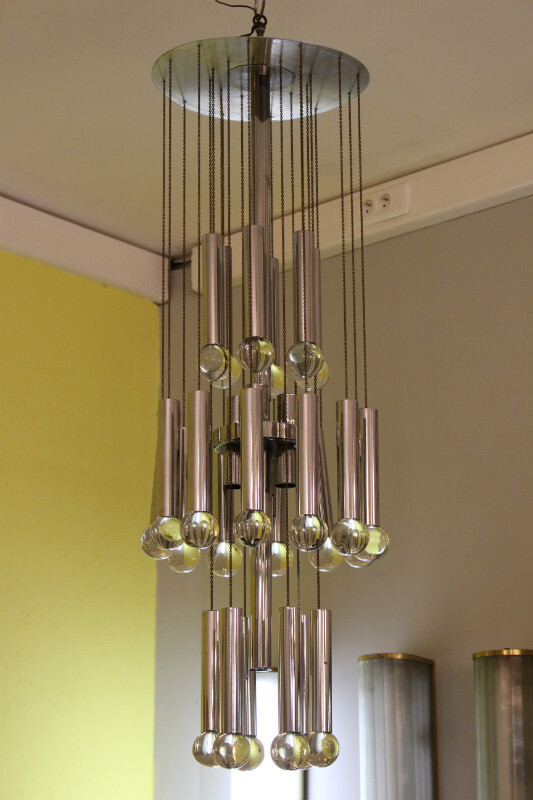 Gaetano Sciolari chrome and glass ceiling light - c. 1970