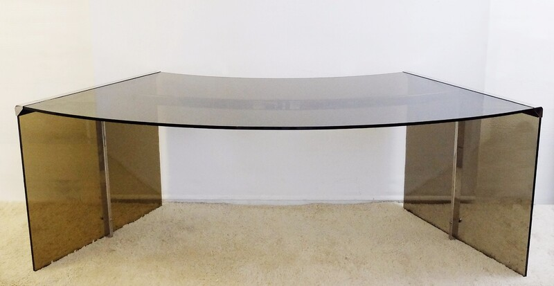 Gallotti & Radice Chrome and Smoked Glass president desk