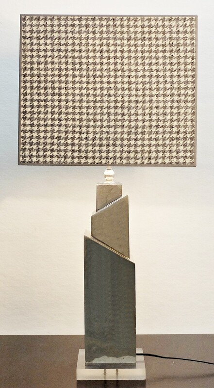 geometric table lamp in chrome - new Houndstooth Lampshade