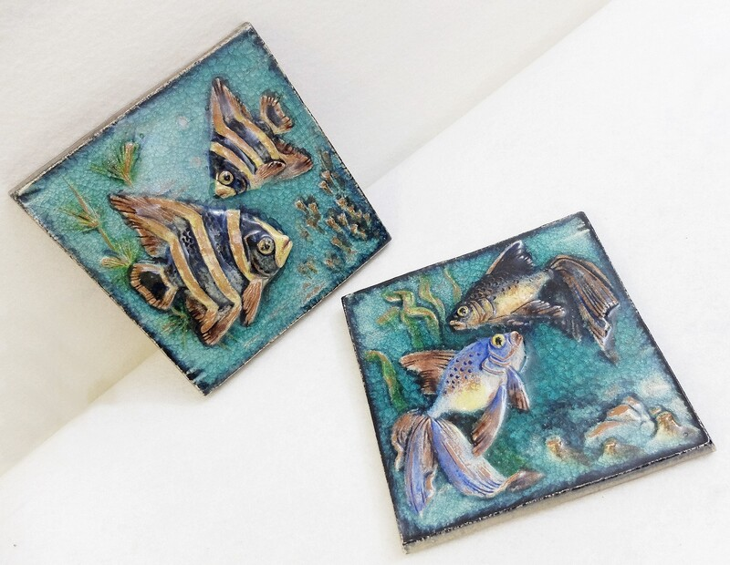 German Art Deco Karlsruhe terracotta Fish plaques 1930s - set of 2