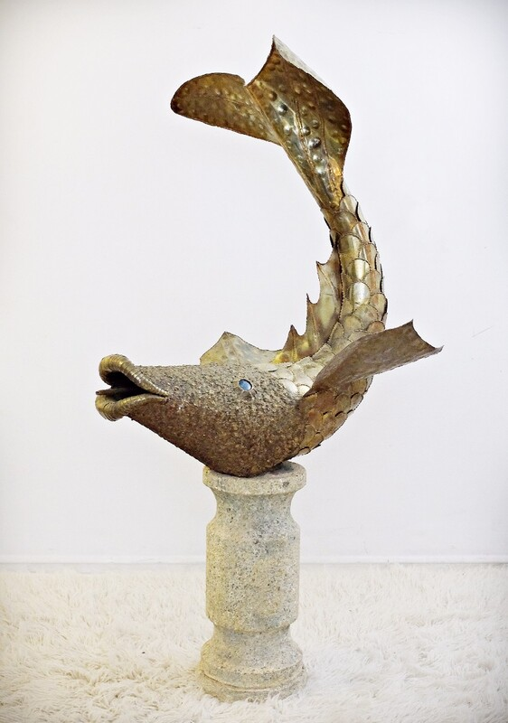 gilded brass and brazed sculpture-fountain fish