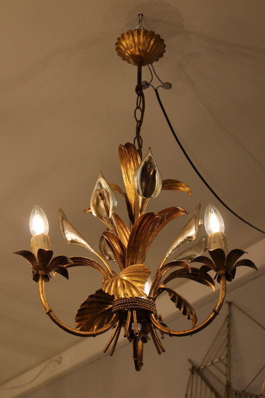 Gilded ceiling light - c . 1970