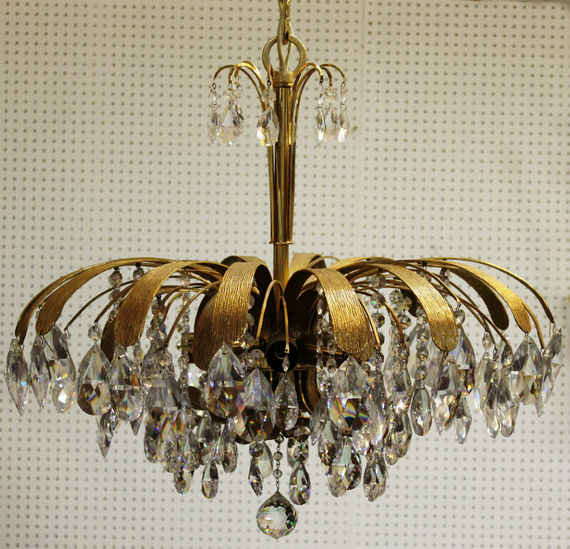 Gilded ceiling light with pendants - C. 1970