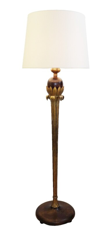 Gilded Wood Floor Lamp From Alfred Chambon
