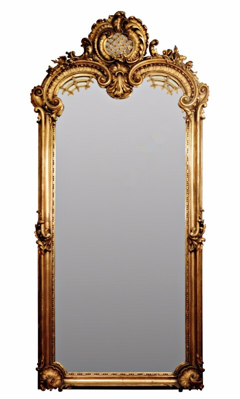 Gilded Wood Mirror In The Louis XV Style + console - circa 1900