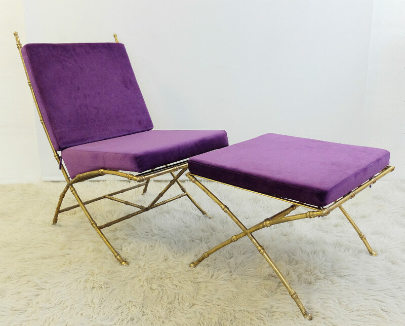 Gilt-Metal and Faux Bamboo Chair and Ottoman