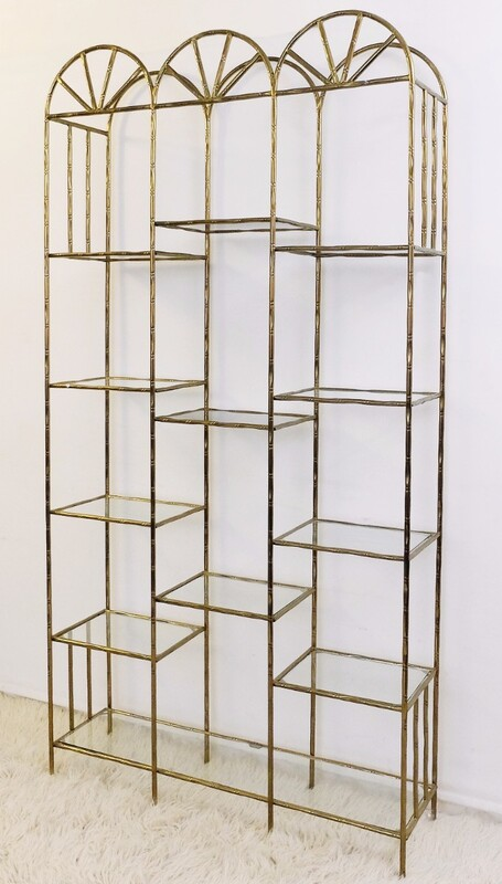 Gilt-Metal Faux-Bamboo shelf
