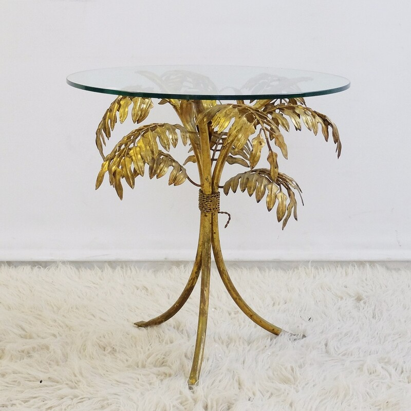 Gilt Metal Palm Leaf Side Table att. to Hans Kögl