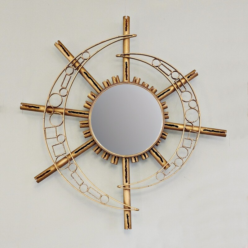 Gilt Metal Sunburst Mirror