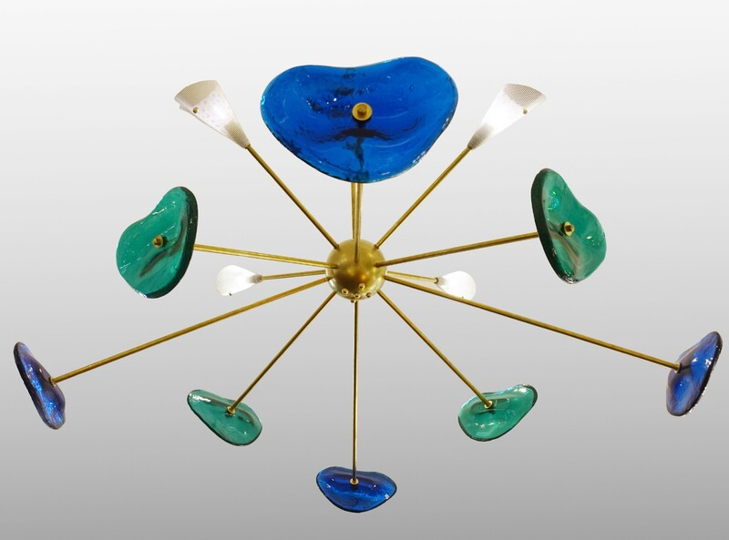 Glass and Brass Sputnik Chandelier - Belgian Creation Signed