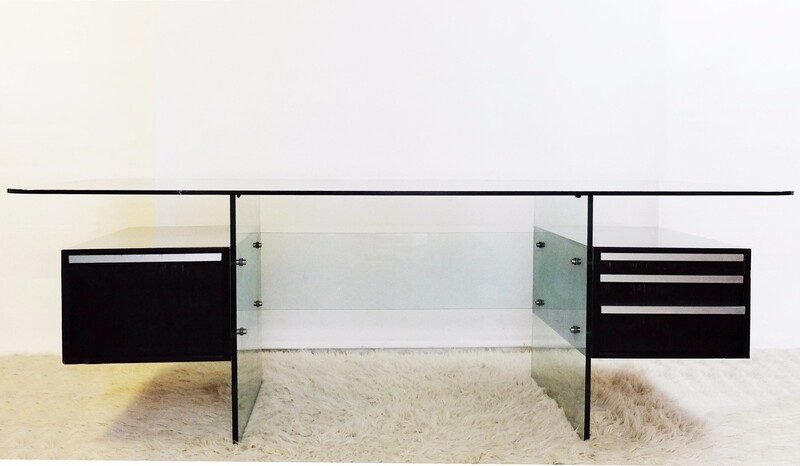 Glass and chrome brushed Writing Desk by Xavier Marbeau, c1970