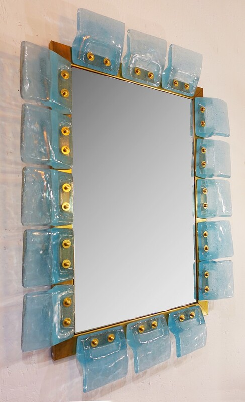 Glass & Brass Contemporary Mirror - Belgian Creation Signed