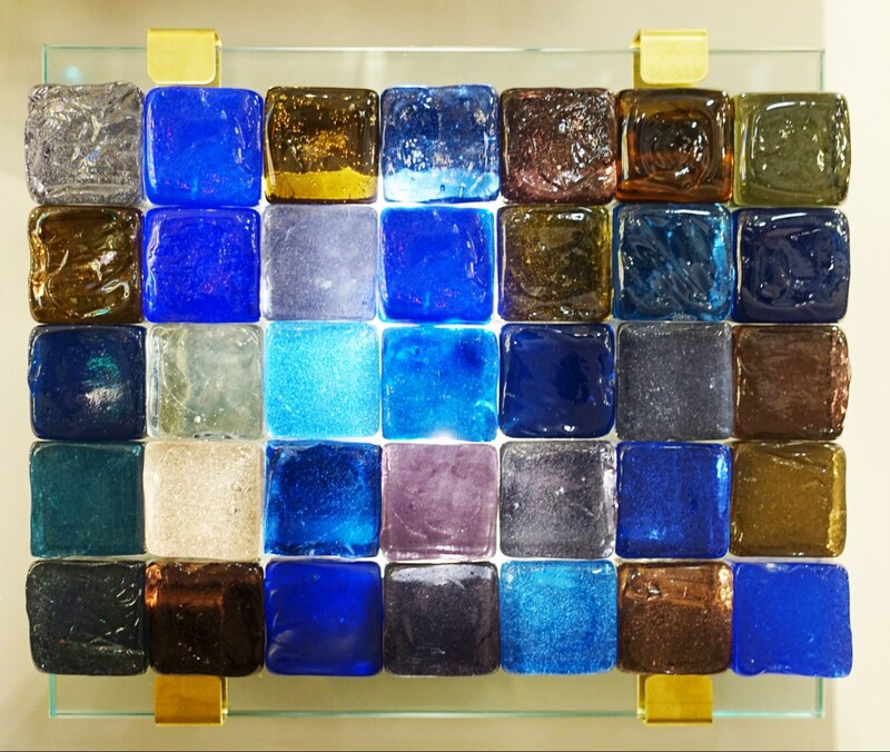 Glass Cube Wall Lamp - Belgian Creation Signed