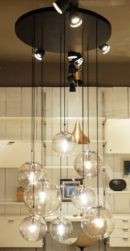 Glass Globes Chandelier by Limburg Glashütte, Germany