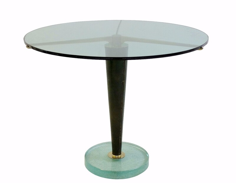 glass,leather&brass Rare side table,designed for the Arredoluce showrooms,ca 1950–59