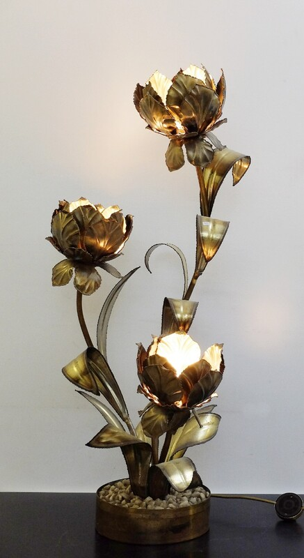 Gold Gilt Floral Tole Metal Lamp