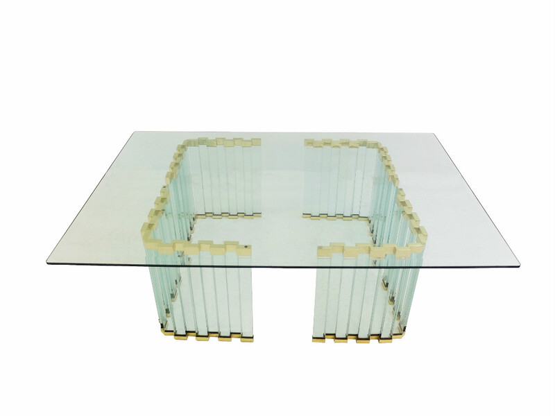gold metal and glass coffee table - c 1970