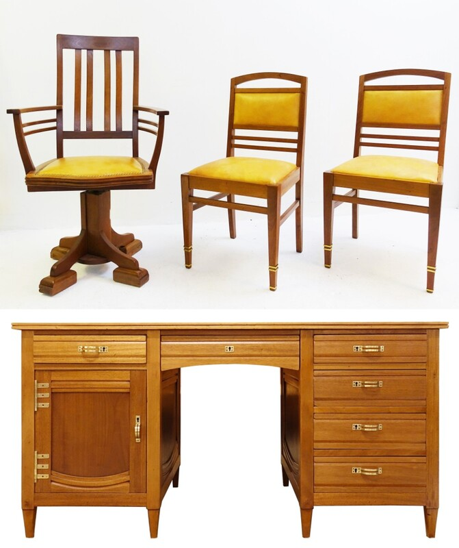 Gustave Serrurier-Bovy set of blond mahogany desk & chairs
