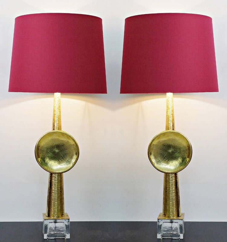 Hammered Metal and glass italian table lamps