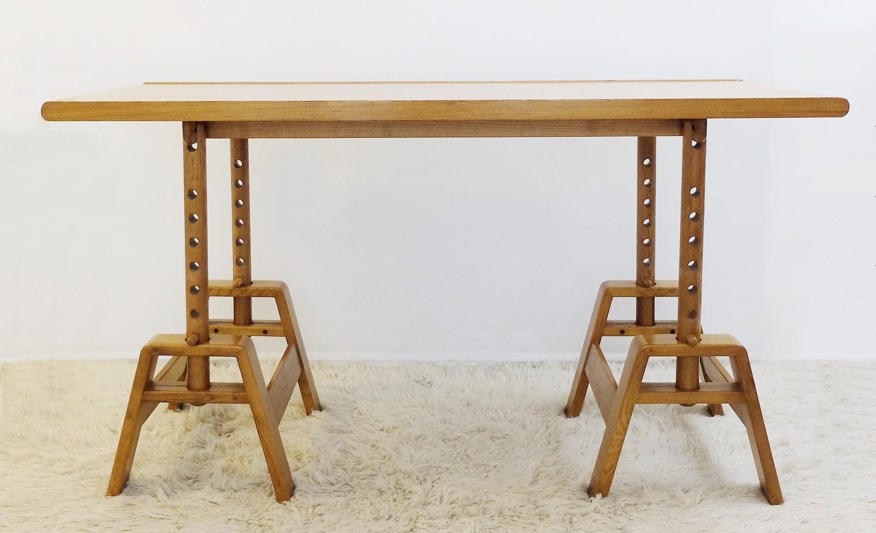 Height Adjustable Wood Desk U0026 Stool   Desk Table   Furniture   Via Antica. U2039