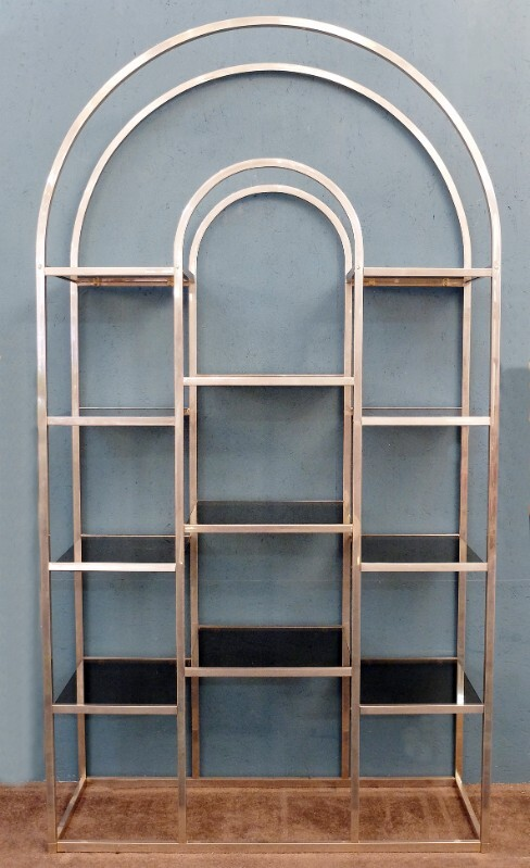 Huge Brass and Tinted Glass Bookshelf or Etagere Attributed to Romeo Rega